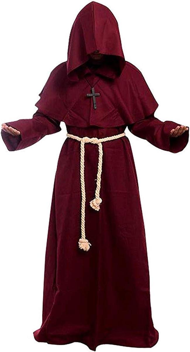 Medievale Costume da Frate Con Cappuccio Corda Croce Tunica Teatrale per Halloween Cosplay Carnevale Feste in Maschera Rappresentazione Teatrale Luojida