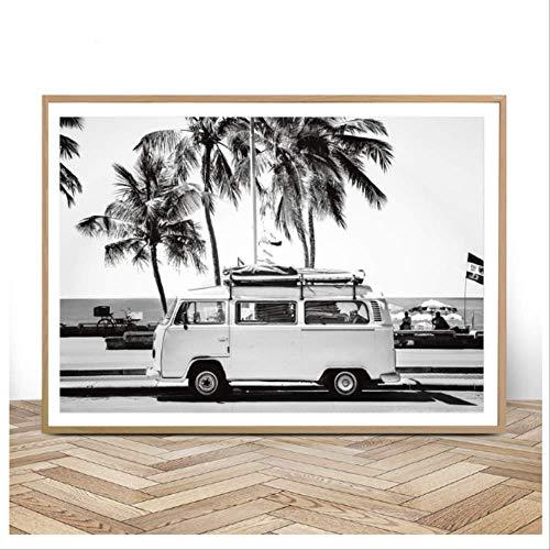 Camper Van Beach Print Surf Art Boho Decor Retro Blanco y negro California Ocean Poster and Prints Living Room Pictures 50x70cm Sin marco