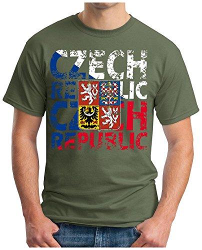 OM3® - Czech-Republic - T-Shirt Tschechien Ceská Republika Fussball World Cup Soccer Fanshirt Sport Trikot, 3XL, Oliv