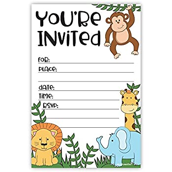 Jungle Safari Zoo Animals Invitations for Birthday or Baby Shower  20 Count with Envelopes