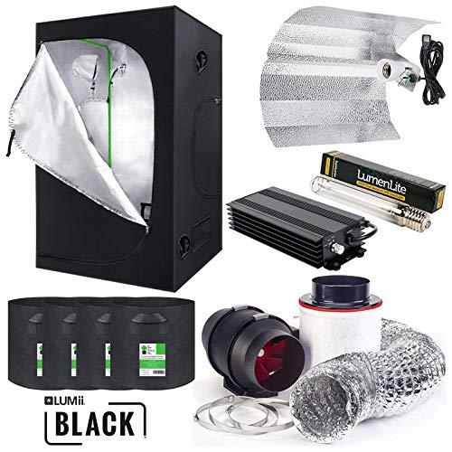 Complete Grow Tent Kit 120 x 120 x 200cm - LUMii Digital Light Kit - Fabric Pots - Fox Extraction System