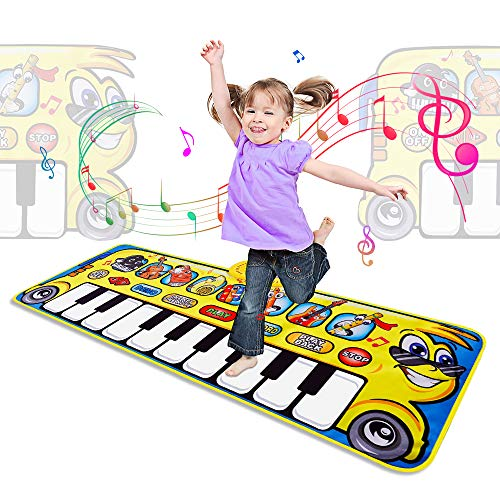 m zimoon Musical Mat, Kids Piano Play Mat Cartoons Animal Music Dance Mat with 8 Musical Instruments Educational Music Toys Birthday for Age 3+ Kids Boys Girls