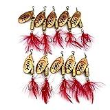 Spinner señuelos del Cebo del Metal de Las Lentejuelas Spinner Pesca Señuelos Realista Cebo de Pesca Crankbaits Conjunto de Pesca al Aire Libre Rojo 10PCS