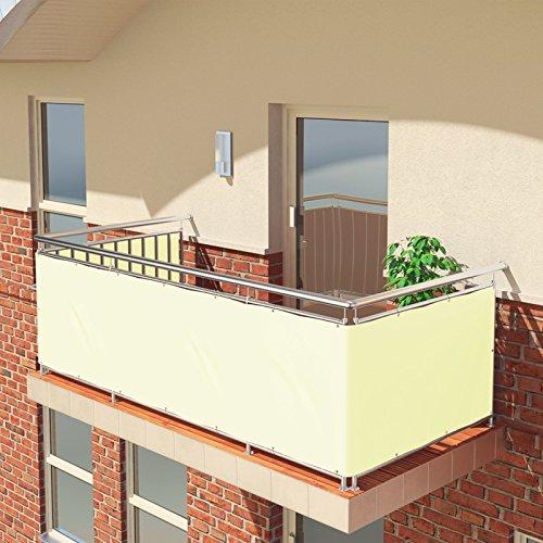 BALCONIO Balkon Sichtschutz wasserabweisend Balkonbespannung Balkonabdeckung für Balkon Terrasse aus Polyester - 600 x 85 cm - Creme