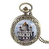 Église orthodoxe Moscou célèbre Russe chrétien Sauveur cathédrale Motif Quartz Montre de Poche Collier Religieux Pendentif Montre
