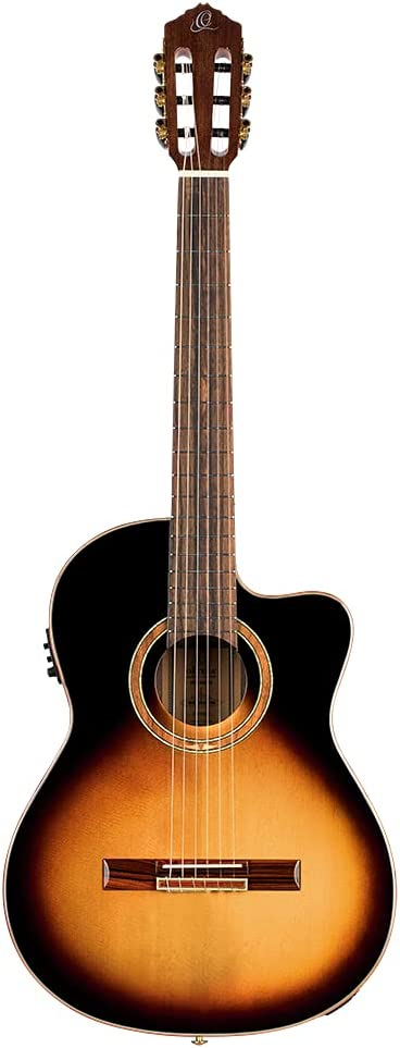 Ortega Classical Guitar Performer Series 44 Incluye funda Mástil delgado Color Tobacco Sunburst RCE158SN-TSB