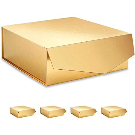 Gift Box with Lid Bow Wedding Bridesmaid Proposal Gold Black Paper 9.5x9.5x3.5/'/'