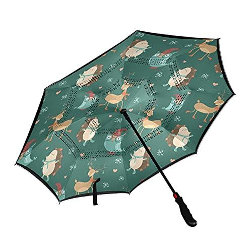 ISAOA Parapluie de golf pliable avec housse de transport Motif cerf de Noël Hérisson Hibou Ouverture automatique Coupe-vent Imperméable Grand parapluie pliable