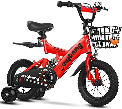 HCMNME Durable Bicycle Kids Bikes with Training Wheels, Boys Girls Freestyle Bicycle for 2-12 Years Old with Back Seat and Basket, Children's Mountain Bike with with Rear Suspension,Red 2,14inch