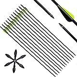 Narchery Tiro con Arco Flechas y Saetas, 31' Pulgadas Arcos y Flechas para Caza o práctica, Incluye Flechas reemplazos, Tres vanes plásticos, Hecho en Carbono Mixta, Color Negro y Amarillo, 12 pcs