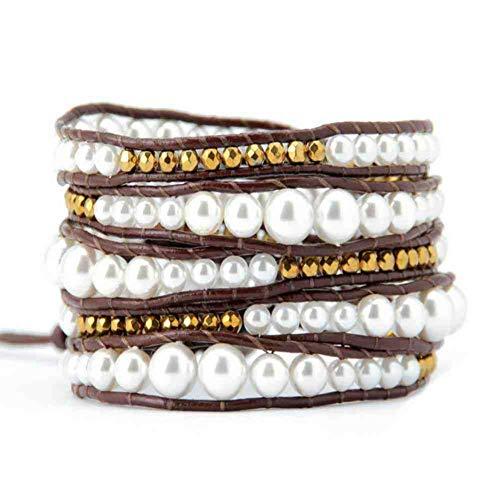 CMAO Afgestudeerd Shell Parels Lederen Wrap Armband Natuurlijke Parel Armband Kralen Sieraden Dropshipping