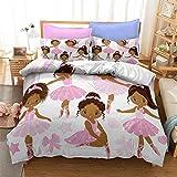 3D Black Ballet Girl Duvet Cover Queen Size,3- Pcs Afro Magic Girl Print Bedding Set All-Season,Soft Microfiber African American Black Girl Quilt Set with Zipper(1 Comforter+2 Pillow Sham)