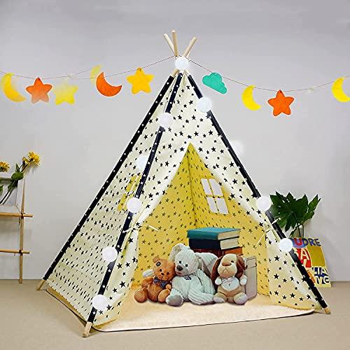 Tienda de campaña para niños con alfombra para niños y niñas, casa de juegos para interiores y exteriores, diseño de rayas blancas, decoración de sala de juegos TiPi Tepee (blanco)