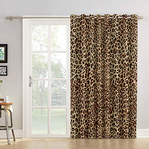 Kitchen Tier Curtains 72 inch Length Chic Window Drapes Panel for Living Room Bedroom Leopard Print Patterned Fabric Curtain for Sliding Glass Door Patio Door