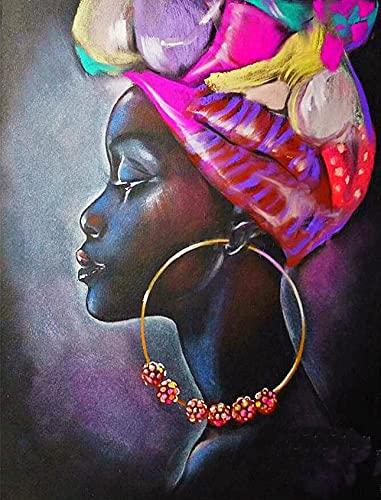 Arte de pintura de diamante 5D para mujer africana americana grandes pendientes de taladro completo cuentas cuadradas kits de pintura de diamante para adultos gemas de cristal arte de pared 40 x 50 cm