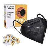 FFP3 Maske CE Zertifiziert Schwarz - 10 Stück 6 lagige Masken ohne Ventil - Premium hygienische Einzelnverpackung Atemschutzmaske