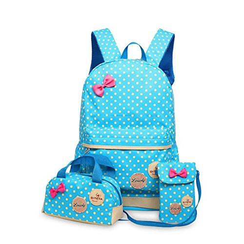 WSLCN Conjunto de mochilas de lona para meninas, mochila escolar com zíper, bolsa de viagem, bolsa de ombro, bolsa de ombro para crianças, bolsa de ombro, bolsa de laptop, bolsa de ombro casual, estojo de lápis de bolinhas, 3 peças Bleu