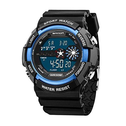 Armbanduhr Mens Edelstahl LED Digital Datum wasserdicht Chenang Sport Armee Quarzuhr Sanda elektronische Uhr Herren Digitale wasserdichte militärische Uhren Sportuhr mit Wecker (Blau)