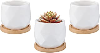 Mkono 3.5-Inch White Ceramic Succulent Plant Pots with Bamboo Tray Small Cactus Planter Simple Flower Pots with Drainage Holes, Set of 3