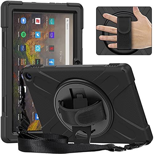 Tablet PC Bolsas Bandolera Caja de tabletas para fuego Kindle HD10 2021, Cubierta a prueba de choques a prueba de choques de cuerpo completo con correa de mano / correa de hombro Kickstero giratorio