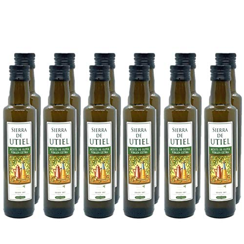 Sierra de Utiel - Aceite de Oliva Virgen Extra Premium - Caja de 12 botellas de 250 ml - AOVE 100% natural producido en España - Ideal para regalar en bodas, bautizos y comuniones