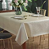 Qualsen Mantel Antimanchas Rectangular Impermeable, 140 x 200 cm, Manteles Mesa Decorativo para Hogar Comedor del Cocina, Beige