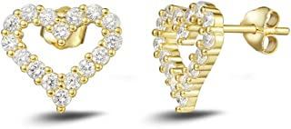 Carleen Yellow Gold Plated 925 Sterling Silver CZ Cubic Zirconia Open Heart Stud Earrings For Women Girls