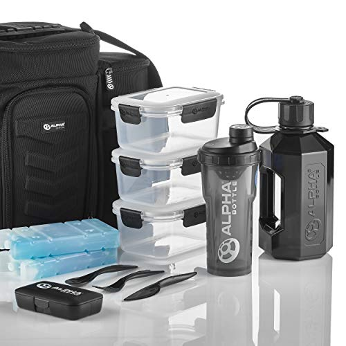 Photo of Alpha Designs Meal System – Fully Loaded Insulated Meal Prep Bag with Alpha Bottle 750 V2, XL, Pill Box, 2 x Ice Packs and 3 Leak – Proof Boxes
