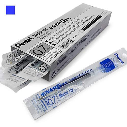 Energel Pentel LR7Kugelschreiberminen mit Metallspitze zum Nachfüllen, 0,7mm, für Energel Xm, BL77/BL57/BL37 - blaue Tinte, 12 Stück