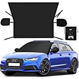OFY Windshield Snow Cover, Larger Windshield Cover for Ice and Snow, Waterproof Thicken Windshield Cover Ice and Wiper Protector Fit Most Car, SUV and Truck, Includes Mirror Covers