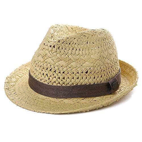 Fedora Sombrero de paja para el sol plegable de verano, sombrero de...