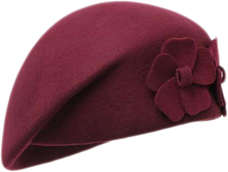British Style Hat Female Fashion Retro Flower Stewardess Beret CapBurgundy