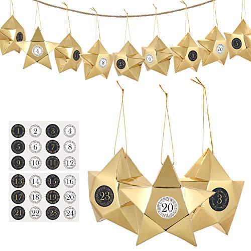 GWHOLE 24 Stück Adventskalender zum Befüllen Stern Schachtel Geschenkbox Weihnachten