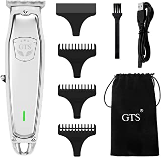 Sponsored Ad - GTS Professional Cordless Hair Clippers for Men Husband and Children Silver stainless steel body Wireless U...