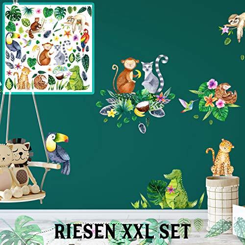 XXL Wandtattoo Dschungel jungle tropisch Set verschiedene Motive| Kinderzimmer Aufkleber bunt Wanddeko