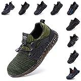 Zapatos de Seguridad Hombre Mujer Zapatillas de Trabajo con Punta de Acero Ligeros Calzado de Industrial y Deportivos Sneaker Negro Azul Gris Número 36-48 EU Verde 39