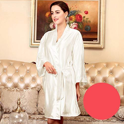 YRTHOR Albornoz Kimono de satén de Seda para Mujer, Bata de baño sólida de Dama de Honor hasta la Rodilla, Bata de Novia de Talla Grande para Ropa de Dormir de Boda,White,XXL