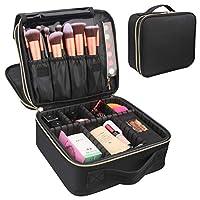 Travel Makeup Case,Chomeiu- Professional Cosmetic Makeup Bag Organizer,Accessories Case, Tools case (Black-M) (C UV-LED)