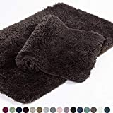 Walensee Shaggy 2 Piece Bath Rug Set, (20 x 32, 2 Pack Set, Brown Basket) Bathroom Rug Set Bath Mats for Bathroom Machine Wash/Dry Absorbent Bathroom Mats Set Non Slip Plush Rug Sets for Shower