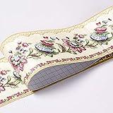 Banggo - Carta da parati con motivo floreale, impermeabile, rimovibile da parete, autoadesivo, per cucina, bagno, bordo carta da parati, 10,6 x 500 cm (giallo)