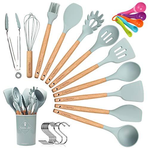 CORAFEI 11 Piezas Utensilios de Cocina Silicona y Madera Espátula Cuchara Pinza para espagueti con olla de almacenamiento 5 cucharas de medir y 10 ganchos
