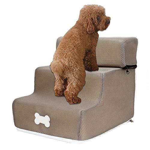 Perrera Cama De PerroEscalera de la escalera de la casa para perros Escalera para rampa de mascotas para gatos pequeños Escalera desmontable antideslizante Perros lavables extraíbles Escaleras de cama