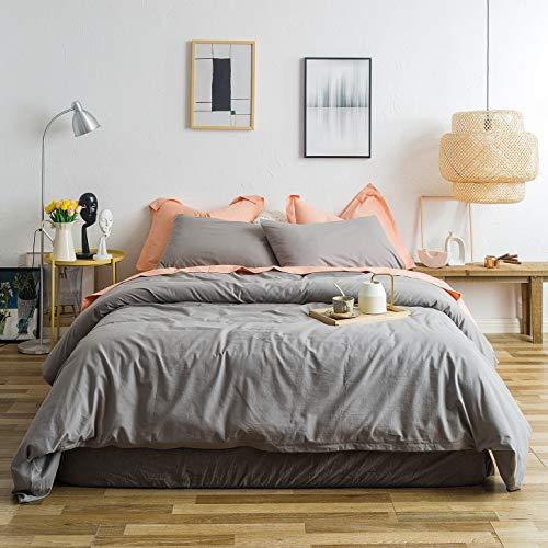 YuHeGuoJi Gray Duvet Cover Set 100% Washed Cotton King Size Light Grey Bedding 3 Piece Set 1 Solid...
