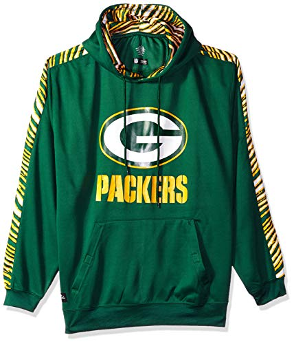 Zubaz NFL Green Bay Packers Mens Pullover Hood, Green X-Large