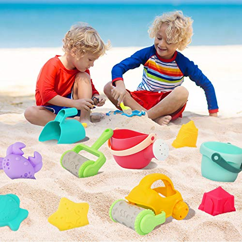 LUVIN Beach Toys,Sand Toys for Kids,18 Piece Summer Toys,Shovels,Rakes,Beach Bucket,Kids Watering Can,Sandbox,Animal and Castle Sand Molds, Mesh Bag,Toddler Water Toys,Indoor Outdoor Toys
