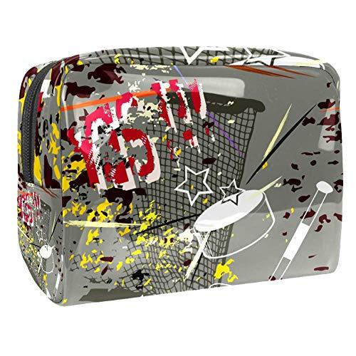 Tragbare Make-up-Tasche mit Reißverschluss, Reise-Kulturbeutel für Frauen, praktische Aufbewahrung, Kosmetiktasche, Hockeytore