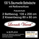 Leonado Vicenti Bettwäsche 135x200 4teilig Renforce 100% Baumwolle Uni mit Reißverschluss (Anthrazit) - 5