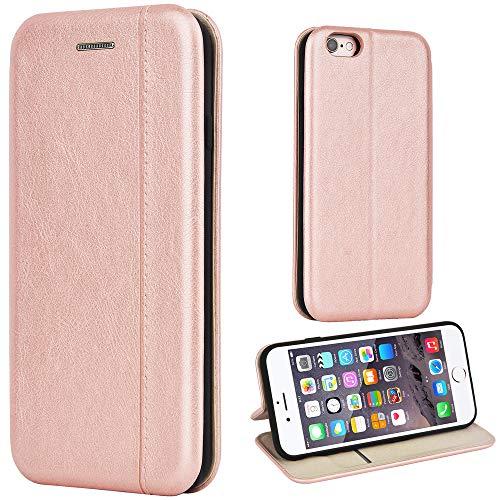 Leaum Handyhülle für Apple iPhone 6/6S Hülle, Premium Leder Tasche Flip Schutzhülle (Rose Gold)