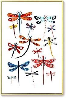 H/H Papillon Libellule Insecte Art Affiche Famille Décoration Peinture Mode Bar Café Toile Art Peinture À l'huile sans Cad...