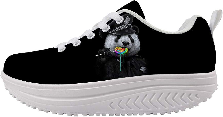 Owaheson Swing Platform Toning Fitness Casual Walking shoes Wedge Sneaker Women Panda Bear Rainbow Lollypop Police Cop